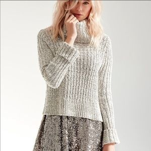 Free People Twisted Cable Turtleneck Crop Sweater